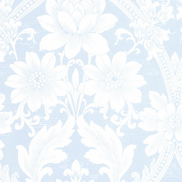 Damask Light Blue And Off White Cs27368 Wall Covering Double Roll