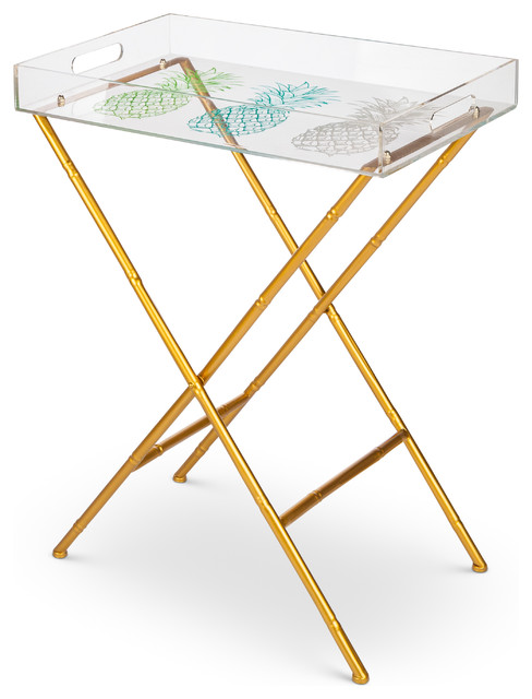 Pineapple Tray Table With Legs, Multicolor.