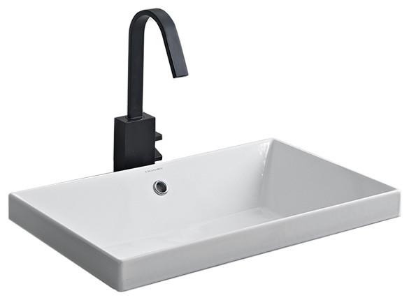 Rectangular Small White Ceramic Drop In Sink