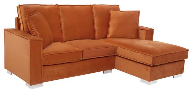 Classic Velvet Upholstered Small Space Sectional Sofa, Rust
