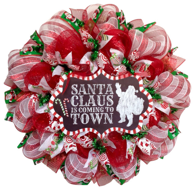 santa claus is coming to town handmade deco mesh christmas wreath - Deco Mesh Christmas Wreath