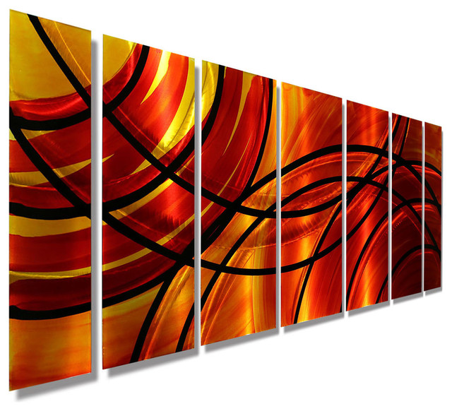 Vivid Red and Orange Abstract Panel Metal Wall Art, Bound by Fire, 68