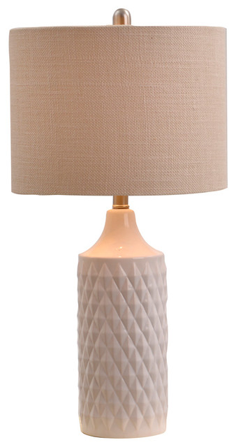Alexa Quilted Ceramic Table Lamp, White.