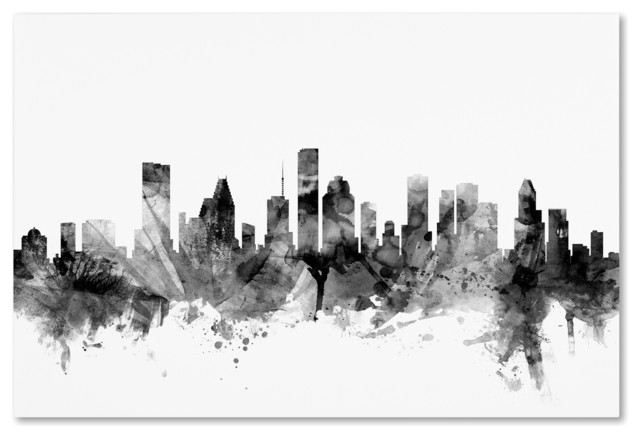 Michael Tompsett &x27;houston Texas Skyline B&w&x27; Canvas Art, 30x47. -1