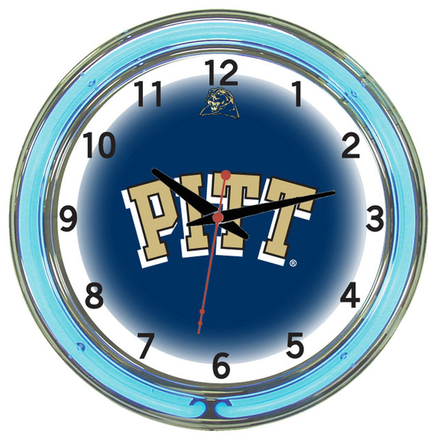 Wall Clocks With Neon Lights : Pittsburgh Panthers 18 Wall Clock With Neon Lights - Traditional - Wall Clocks - by Team Sports