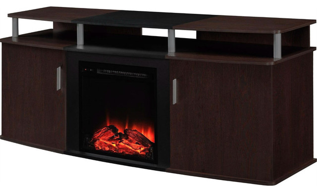 Modern electric fireplace tv stand cherry black wood finish entertainment centers and tv - Contemporary electric fireplaces entertainment center ...