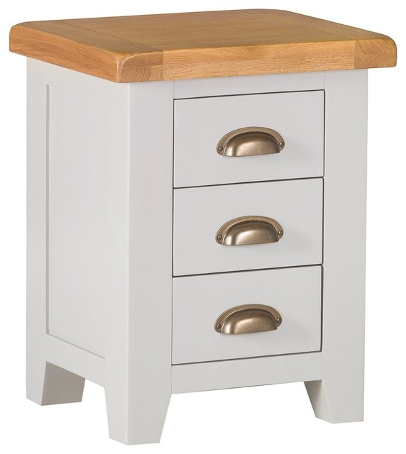 df690ec1eda2 Padstow Grey Painted Oak Small 3-Drawer Bedside Table - Country -  Nightstands And Bedside Tables - by The Furniture Outlet