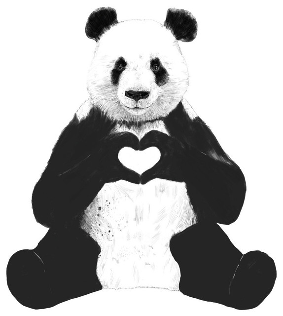 Sitting Panda Decal Cut Out All You Need Is Love By