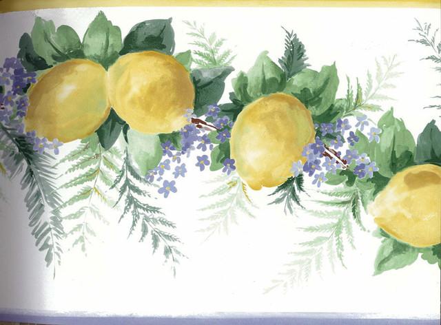 Yellow Lemons Wallpaper Border Roll Traditional  : traditional wallpaper from www.houzz.com size 640 x 472 jpeg 94kB