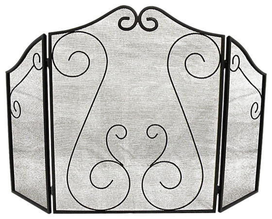 Hearth Accessories Fireplace Scrollwork Screen.