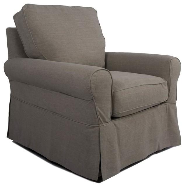 Swivel chair slip cover set beach house blue for Modern armchair covers