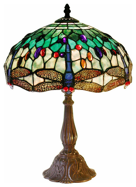 Tiffany Style White Dragonflytable Lamp Victorian