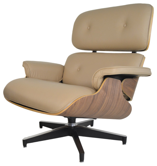 Classic Mid Century Modern Italian Leather Lounge Chair and Ottoman Beige