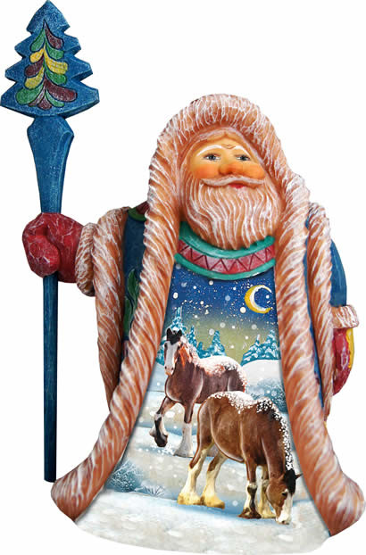 Artistic Wood Carved Santa Claus With Snow Horses Sculpture.