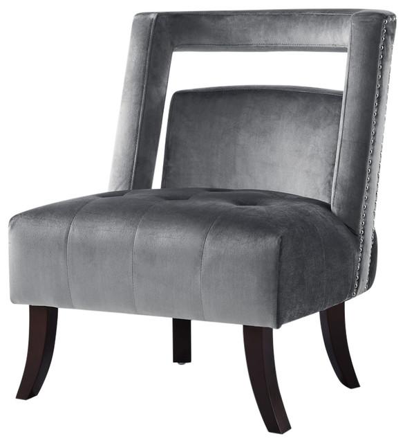 Aidan Open Back Velvet Tufted Armless Slipper Accent Chair Nailhead Trim Grey
