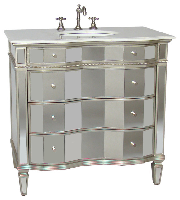 Chans Furniture Ashley Mirrored Vanity With Sink 30 Bathroom Vanities And Sink Consoles Houzz
