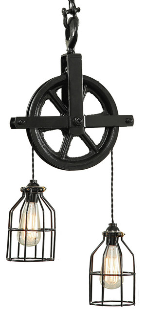 west ninth vintage barn pulley pendant light black pendant lighting