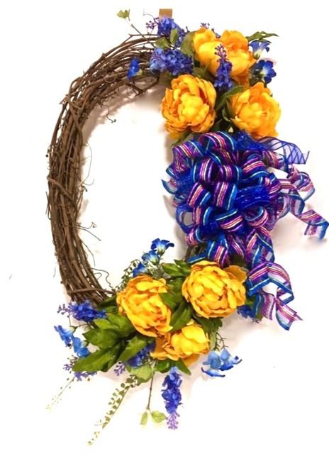 Peony Wreath Door Hanging Wreath Farmhouse Decor Wreath Floral Wreath Succulent Wreath Birds Nest Wreath