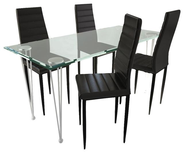 Vidaxl Set Of 4 Black Slim Line Dining Chairs.