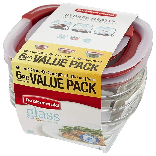Rubbermaid Food Storage Container With Easy Find Lid, 6-Piece