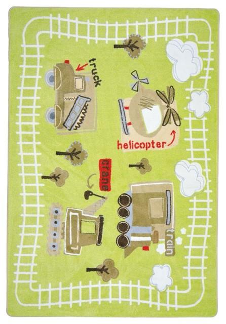 Kid Essentials Rug, Big Machines, 7&x27;8x10&x27;9.