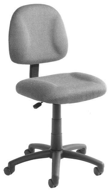Armless Desk Chair In Gray With Lumbar Support Adjustable