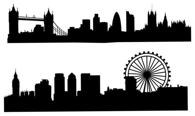 London Skyline Silhouette Wall Decal Black  sc 1 st  Houzz & London Skyline Silhouette Wall Decal - Contemporary - Wall Decals ...