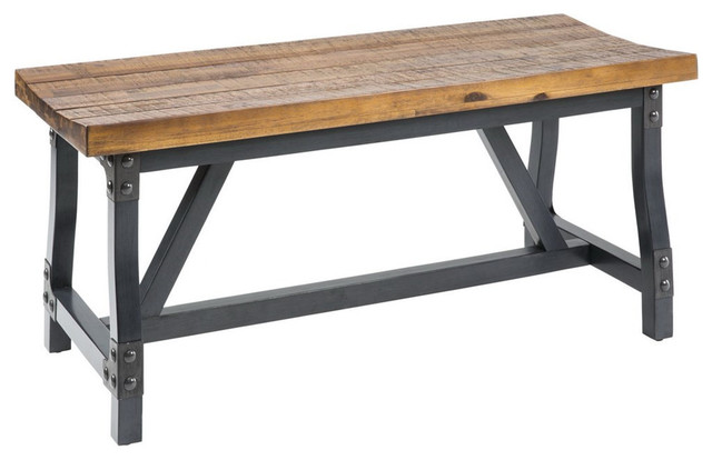 Industrial Rustic Acacia Wood And Metal 44 Inch Accent Dining Bench  Industrial Accent And