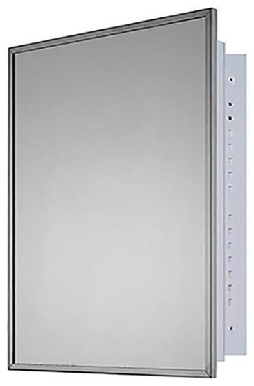 """Deluxe Series Medicine Cabinet, 20""""x26"""", Bright Annealed Stainless Steel Frame,"""