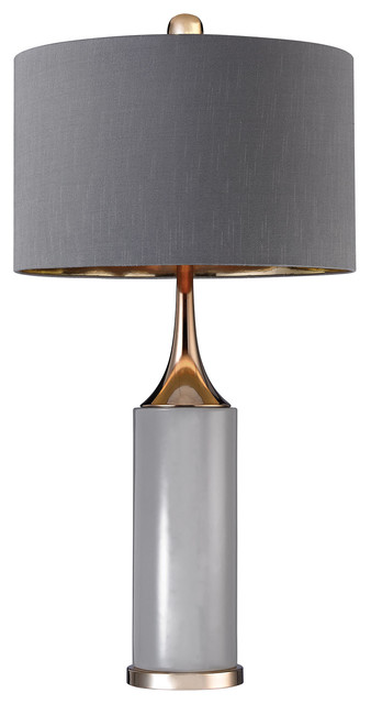 """31.75"""" Transitional Tall Gold Cone Neck Lamp."""