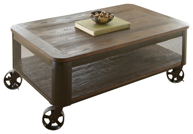 Barrow Lift Top Cocktail Table With Casters Industrial Coffee