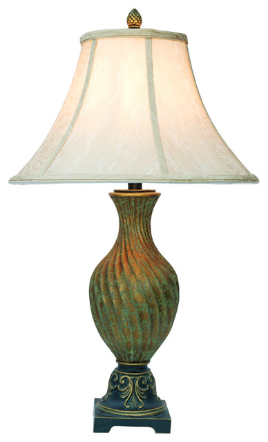 Antiqued Green Table Lamp.