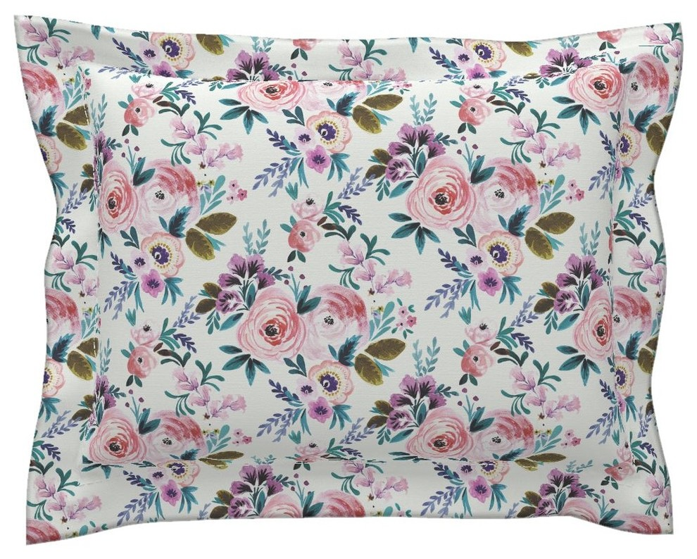 Purple And Blue Floral Mid Century Modern Flower Pillow Sham by Roostery