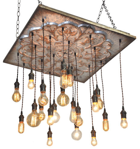 Industrial Tin Chandelier With 20 Pendants, No Bulbs, Suspended