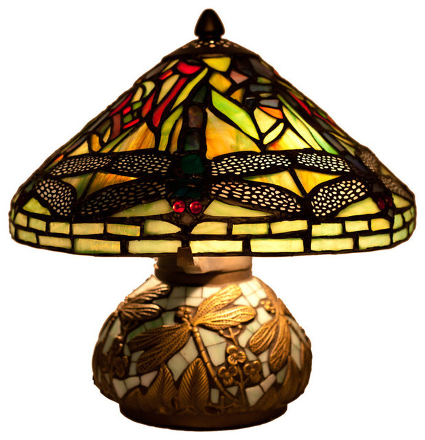 Stained Glass 10 Tiffany Style Yellow Mini Dragonfly