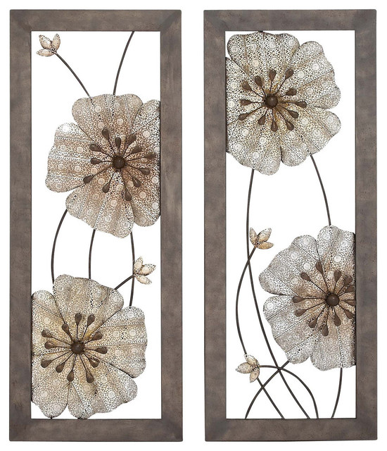 Gemini Floral Wall Panels, Set Of 2.