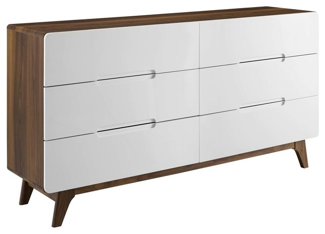 Modway Origin Six-Drawer Wood Dresser Or Display Stand MOD-6076-WAL-WHI