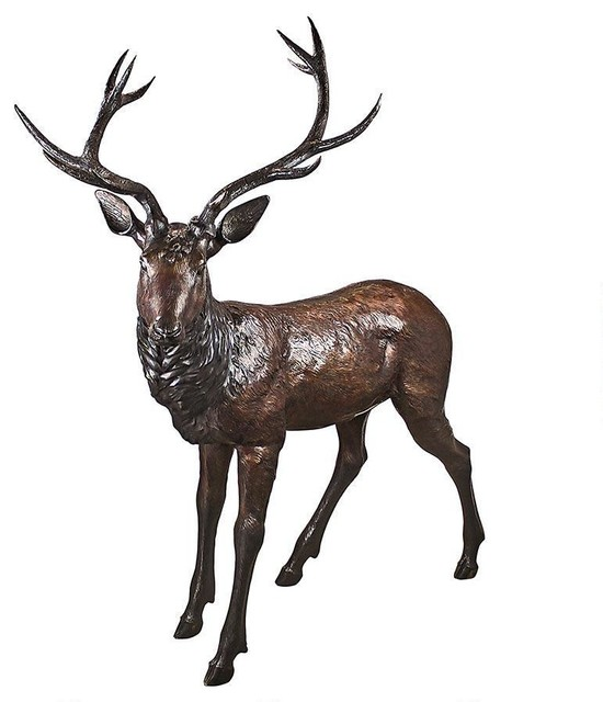 Design Toscano   Standing Buck Deer Bronze Statue   Garden Statues And Yard  Art