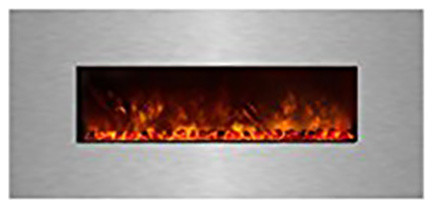 "Modern Flames, 60"" Ambiance Clx Electric Fireplace, Stainless Steel Surround."