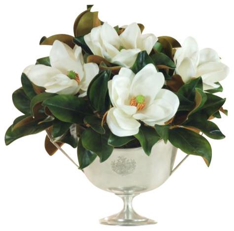 Magnolia in silver centerpiece traditional artificial flower magnolia in silver centerpiece mightylinksfo