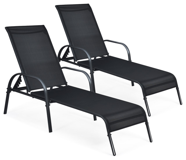 Costway Set of 2 Patio Lounge Chairs Sling Chaise Lounges Recliner Adjustable