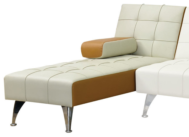 Acme furniture lytton adjustable chaise beige and brown for Brown chaise lounge indoor