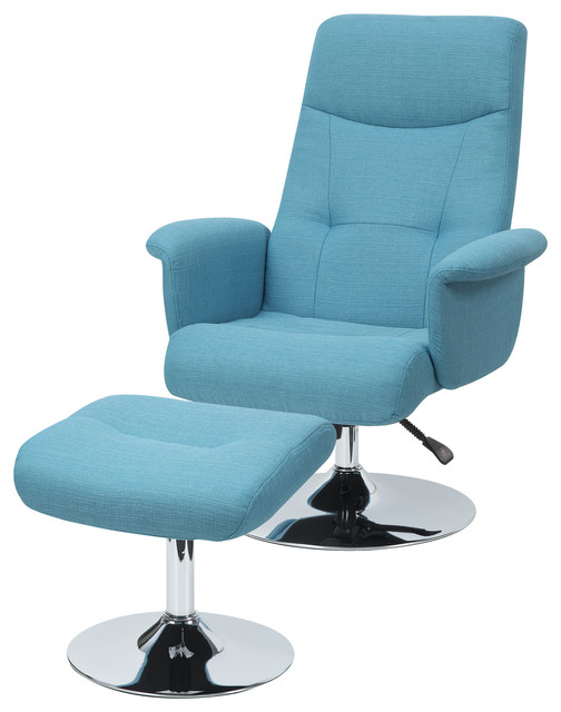 Dallas Chair & Ottoman, Turquoise Blue Linen by Handy Living