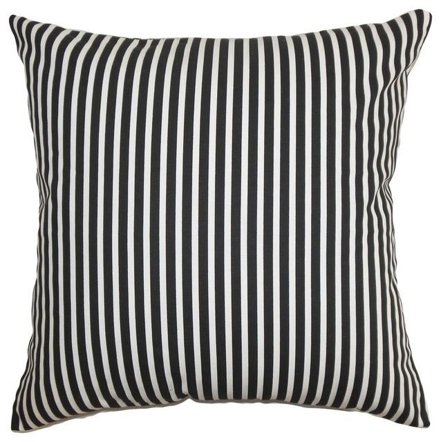 "Elvy Stripes Pillow Black White 20""x20""."