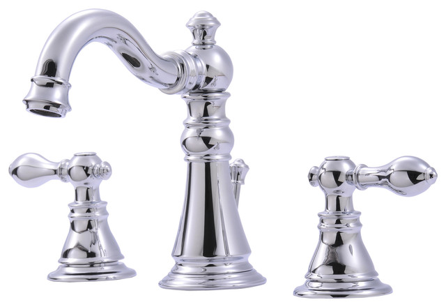Ultra Faucets Two-Handle Chrome Lavatory Faucet With Pop-Up Drain, Chrome.