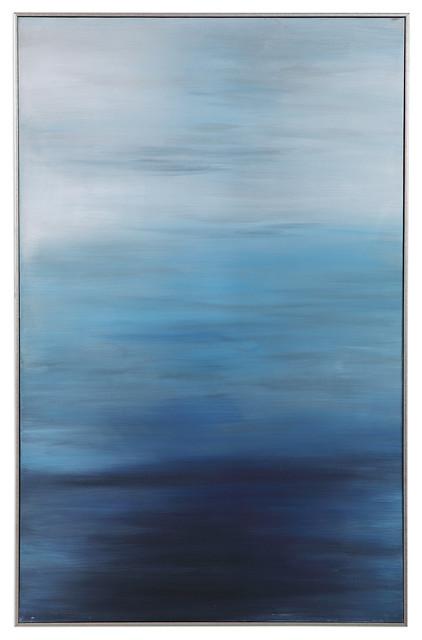 Modern Coastal Contemporary Ocean Blue Painting | Wall Art Shades Peaceful Sea