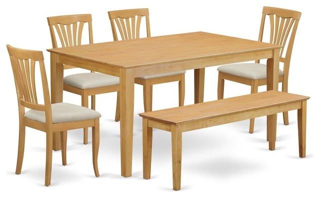 6 Pc Dinette Set, Kitchen Dinette Table And 4 Dining Chairs Plus Wooden  Bench