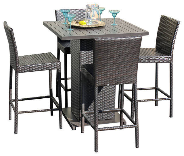 Ordinaire Belle Pub Table Set With Barstools 5 Piece Outdoor Wicker Patio Furniture