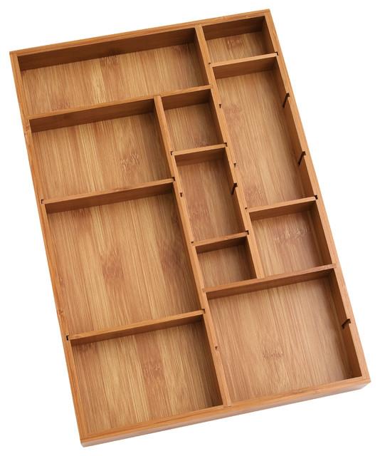 Bamboo drawer organizer contemporary kitchen drawer for Bathroom drawer organizer