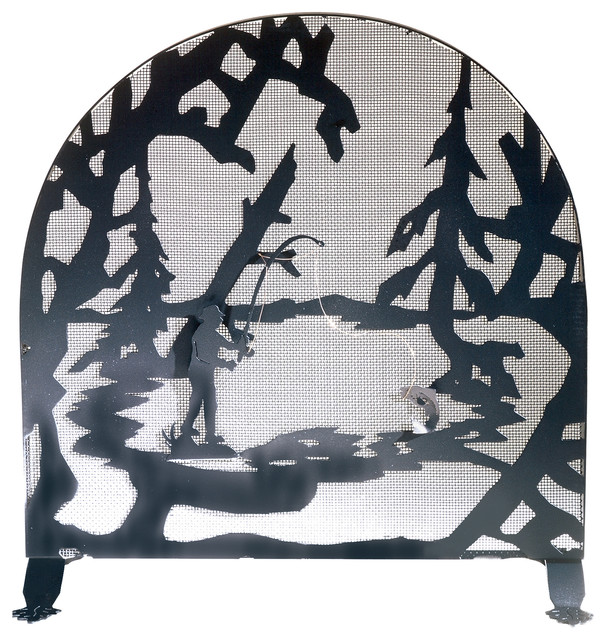 """30""""x30"""" Fly Fishing Creek Arched Fireplace Screen."""